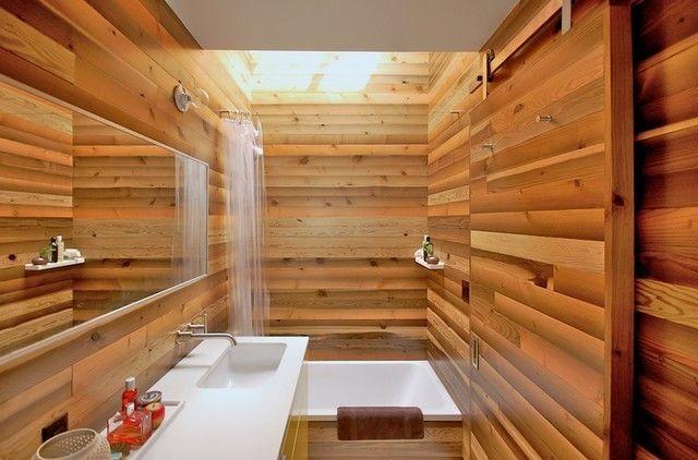 aziatisches Bad in Holz Wanschbecken in Weiß