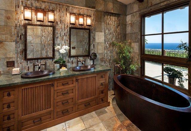 aziatisches Bad mit doppel Waschbecken schwarze Badewanne
