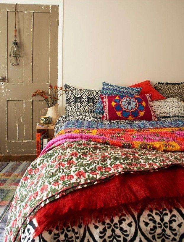 bunte Bettwäsche in Bohemian Stil Schlafzimmer Interieur Ideen