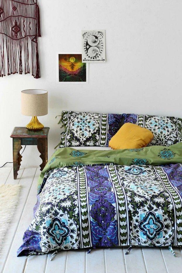 dramatische Bettwäsche in Bohemian Stil weißer Boden