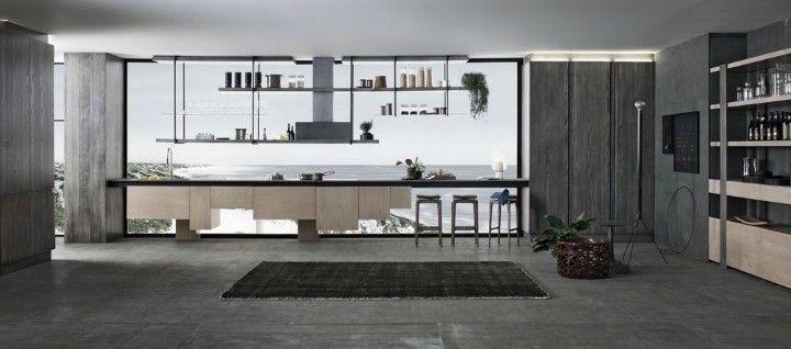 große Fliesen in Grau Panoramafenster Meerblich Küche Ideen