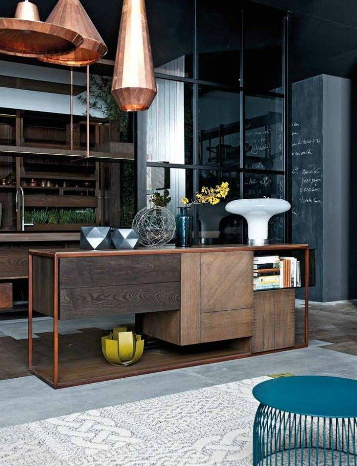 kupferfarbene Hängeleuchte moderne Küche Ideen Kücheninsel Teppich in Weiß