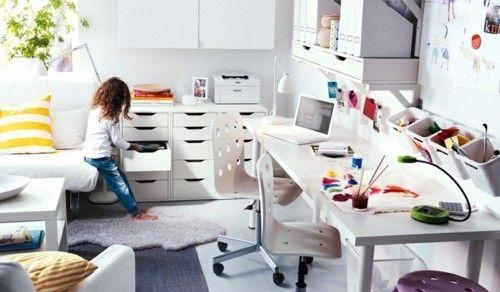 praktische Kinderzimmer Gestaltung in Weiß von Ikea Schubladen Schreibtisch