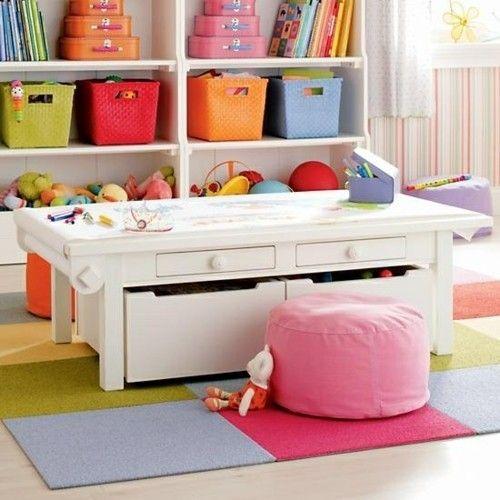 praktisches Kinderzimmer bunte Körbe Schreibtisch für kleine Kinder Ikea