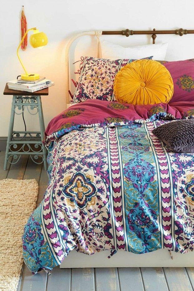 runde Deko Kissen Schlafzimmer in Bohemian Stil Ethno Muster