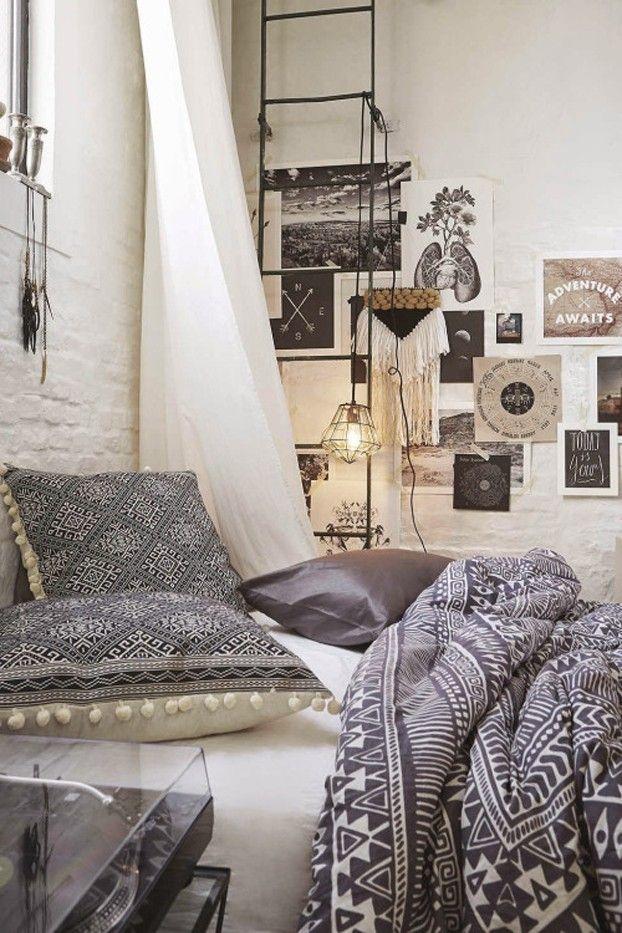 weißer Baldachin Schlafzimmer Gestaltung Ideen Bettwäsche in Grau
