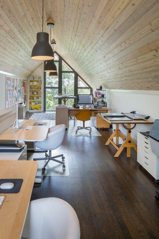 Dachschräge Home Office Loft moderne Gestaltung