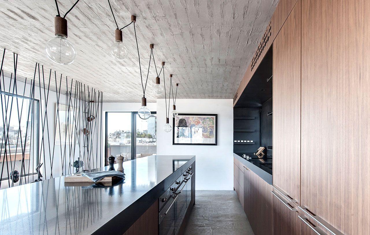 Design Küche Möbel aus Nussbaum trendiges Interieur