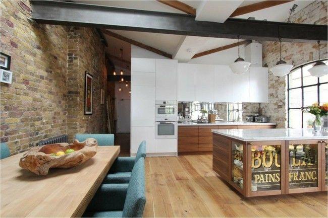 Einrichtungsideen Küche industriell Stil Ziegelsteinwand