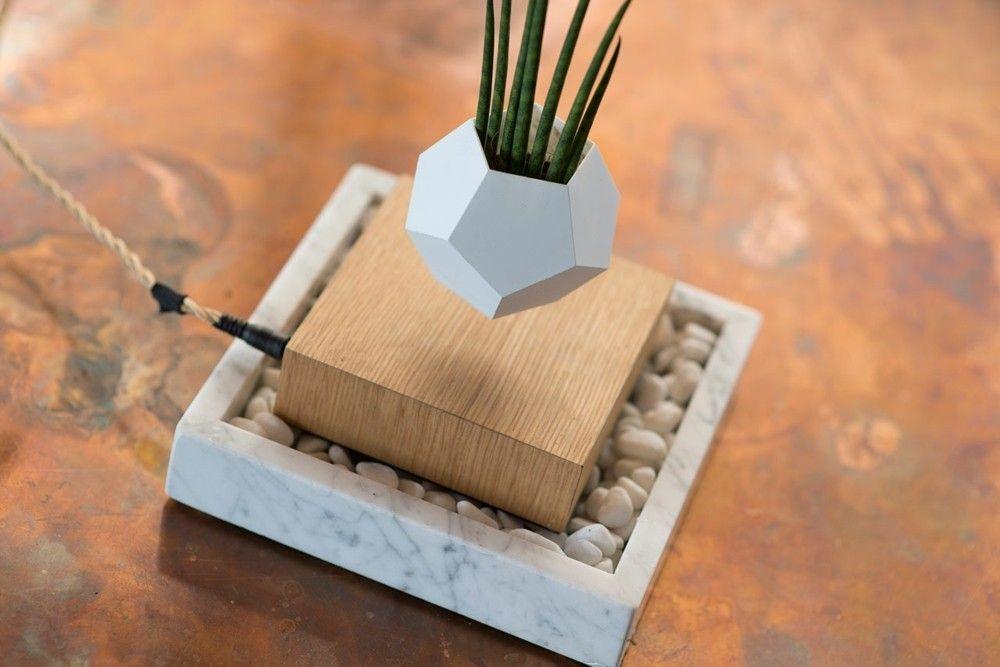 Fundament aus Marmor Design Trend 2016 levitierender Blumentopf mit Sukkulent