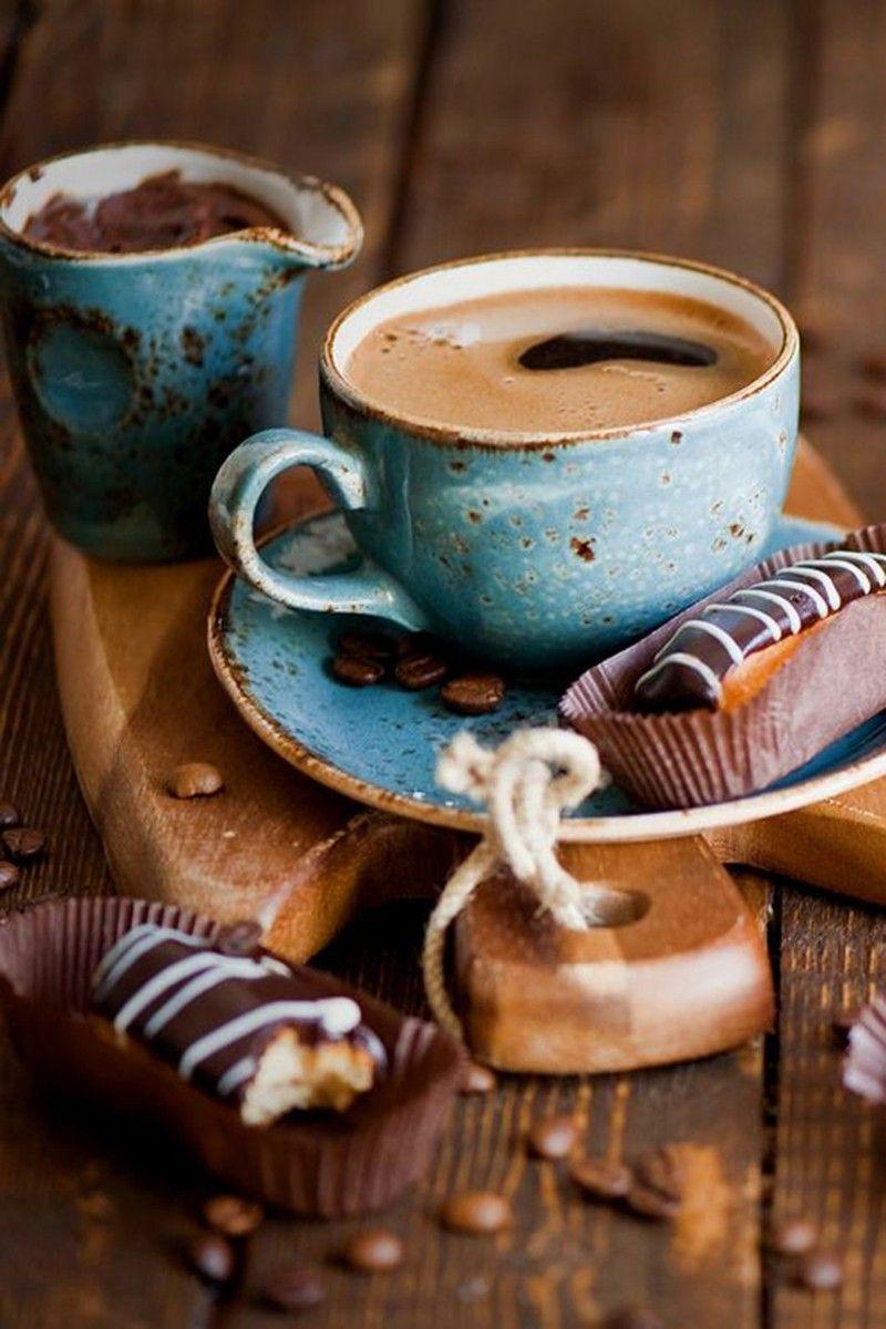 Gesunde Ernährung Kaffee Retro Tasse in Blau