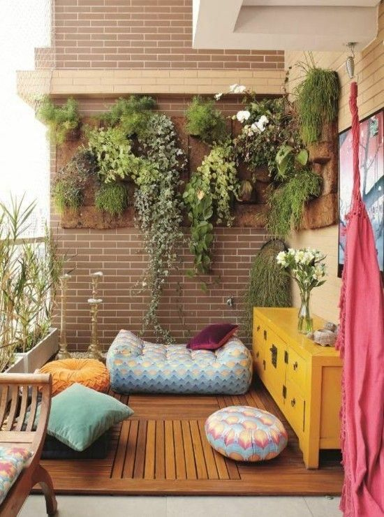 Grüne Wand Innendekoration Balkon Garten