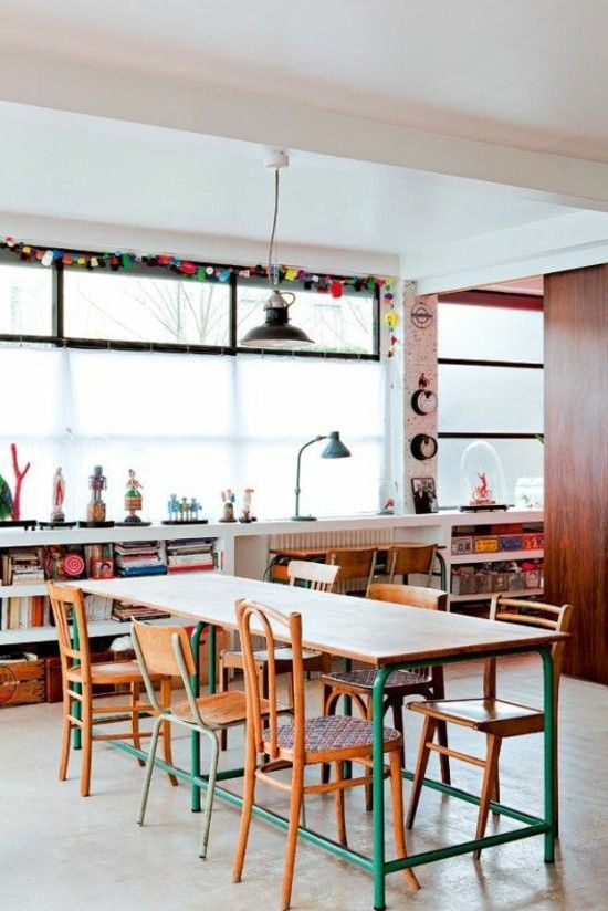 Home Office bunte Rohrmöbel moderne Ideen