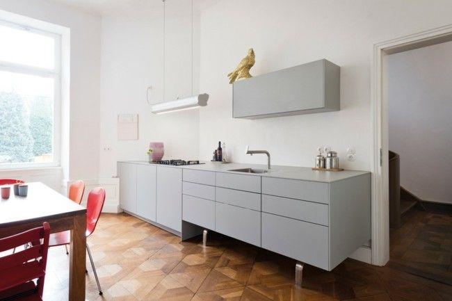 Küche modern gestalten Einrichtungsideen Parkett