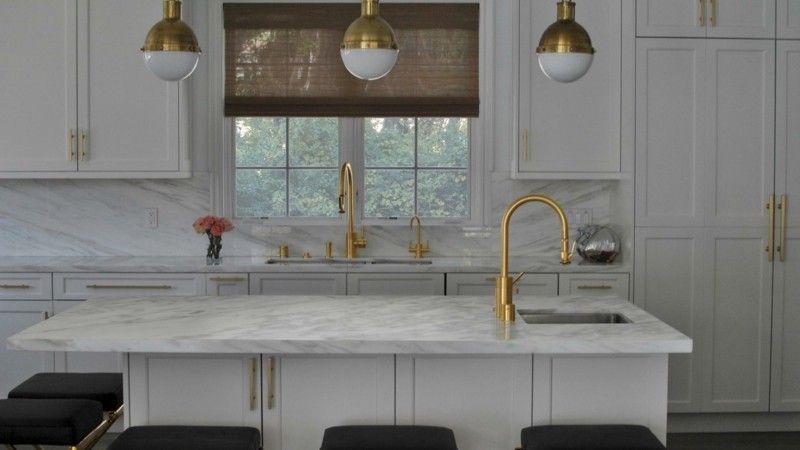 Küchenplatte Marmor Wohnideen Wasserhahn Gold