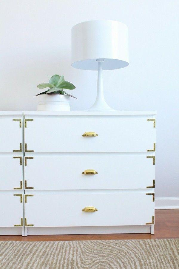Kommode in Weiß und Gold DIY Ikea Hacks Ideen