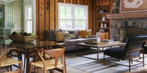 Landhausstil Wohnzimmer Tischplatte Glas Feuerstelle