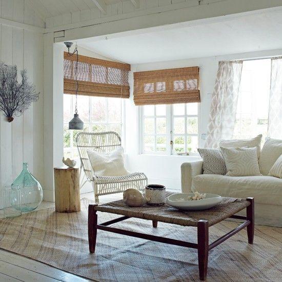 Maritime Deko Ideen Wohnzimmer einrichten in Weiß