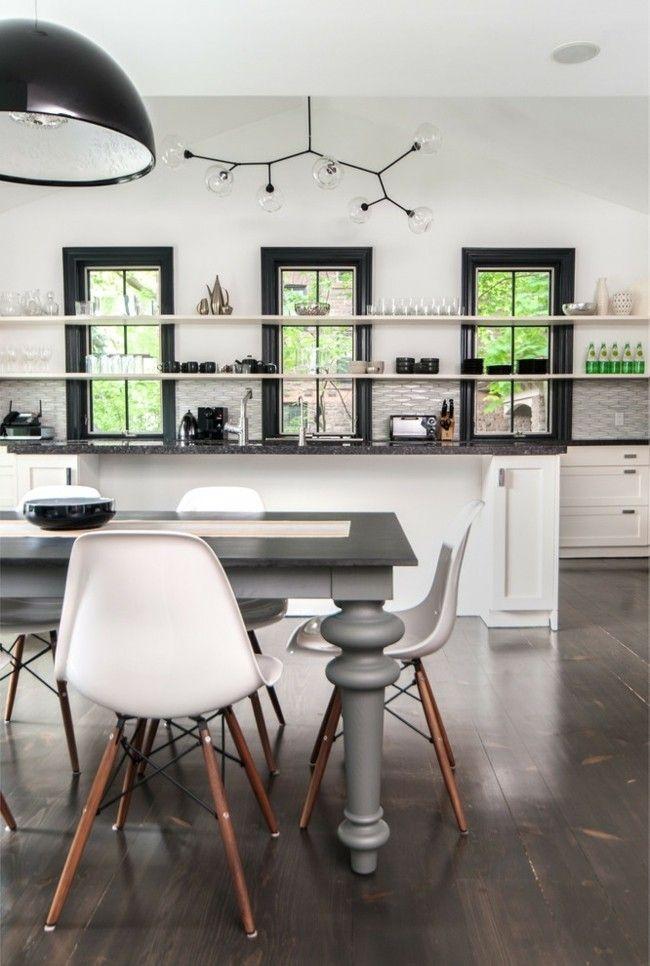 Moderne Küche Einrichtungsideen Design Stuhl Esstisch grau