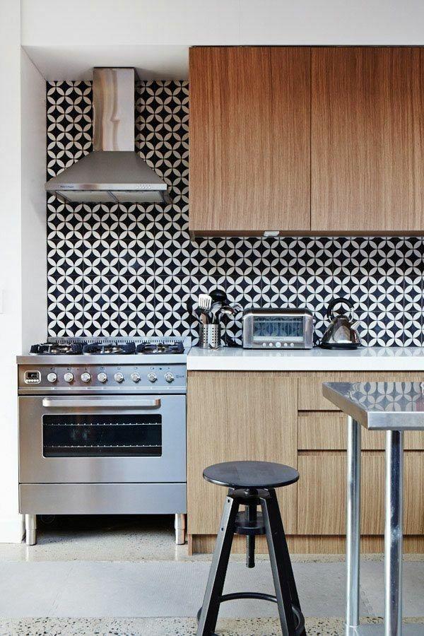 Retro Küchenspiegel stilvolle Küche Edelstahl Holz