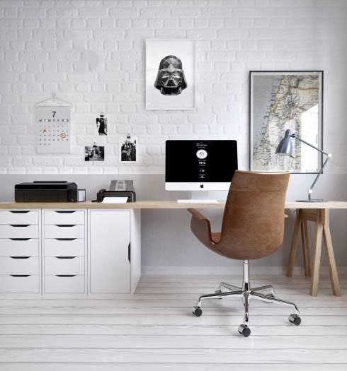 Schreibtisch von Ikea Schubläden in Weiß Wandgestaltung Ziegelsteine