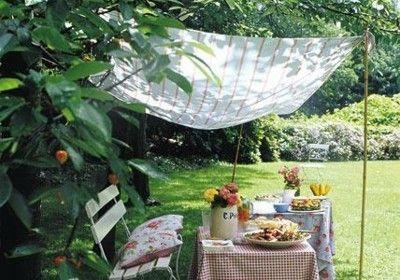 Sommerfest Markise im Garten Tischgestaltung