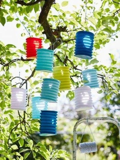 Sommerfest Zieharmonika-Lampions tolle Deko Ideen