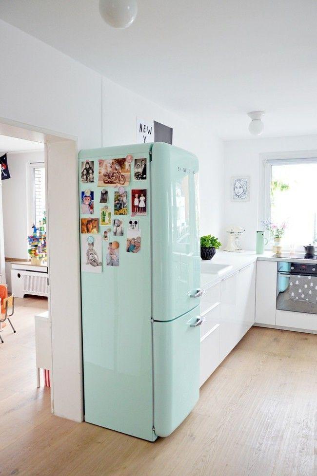 Stil skandinavisch Küche Einrichtungsideen Minze Kühlschrank