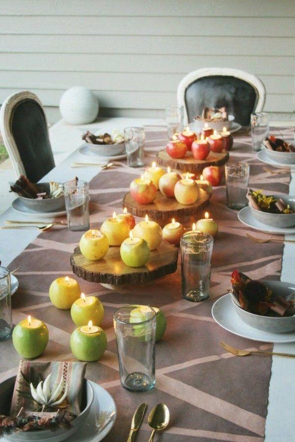 Teelichter Herbst Dekotipps DIY Kerzenhalter Apfel