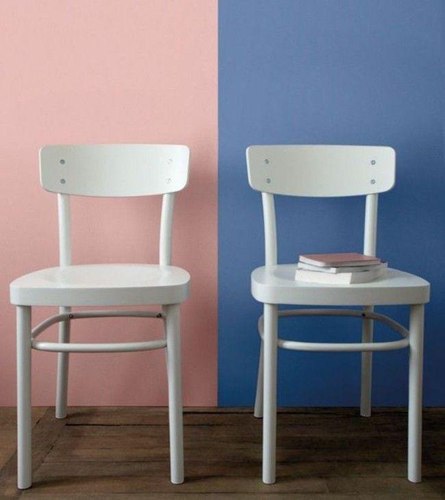 Wandgestaltung Trendfarben weiße Stühle