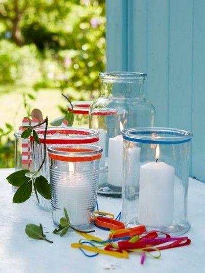 Windlichter weiße Kerzen Sommerfest Deko