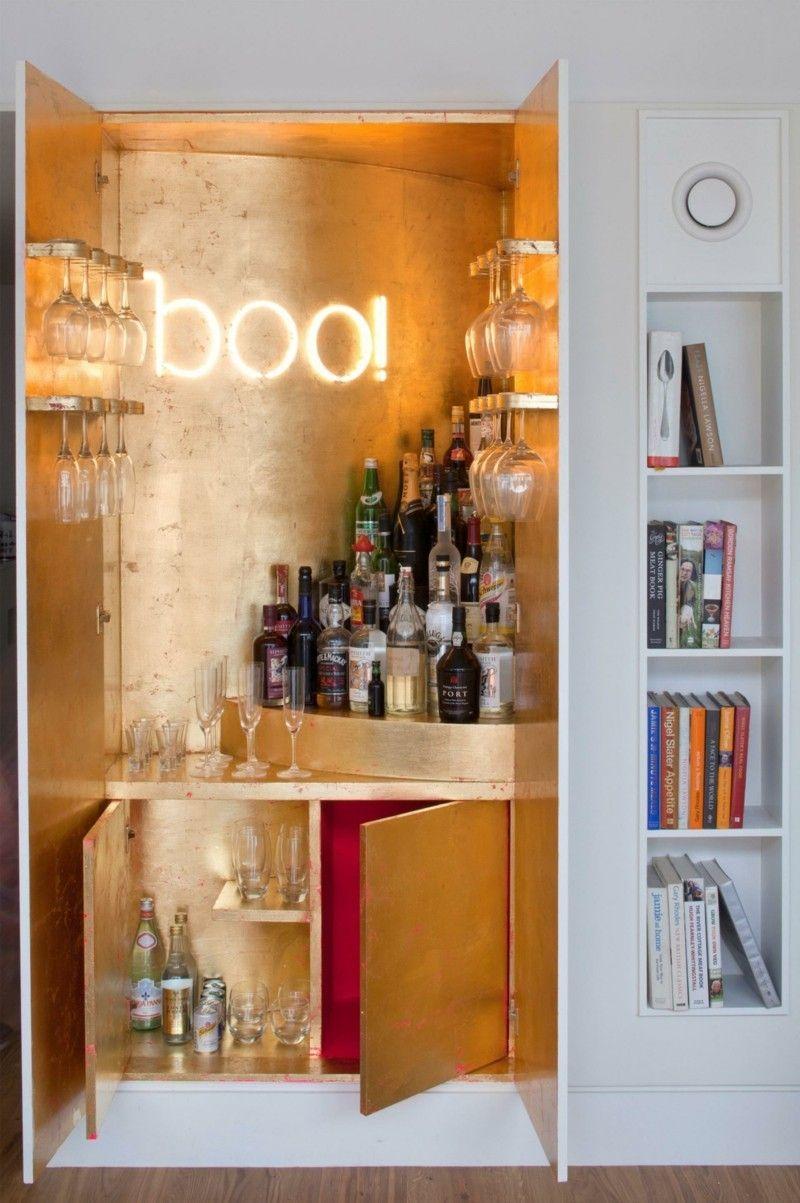 Wohnideen Bar Schrank Deko Gold