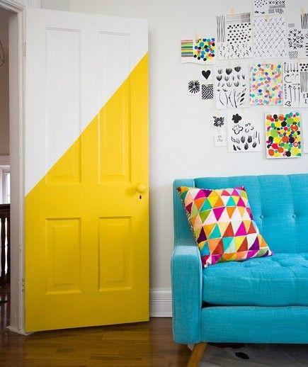Wohnzimmer Türaufkleber Gelb Ideen