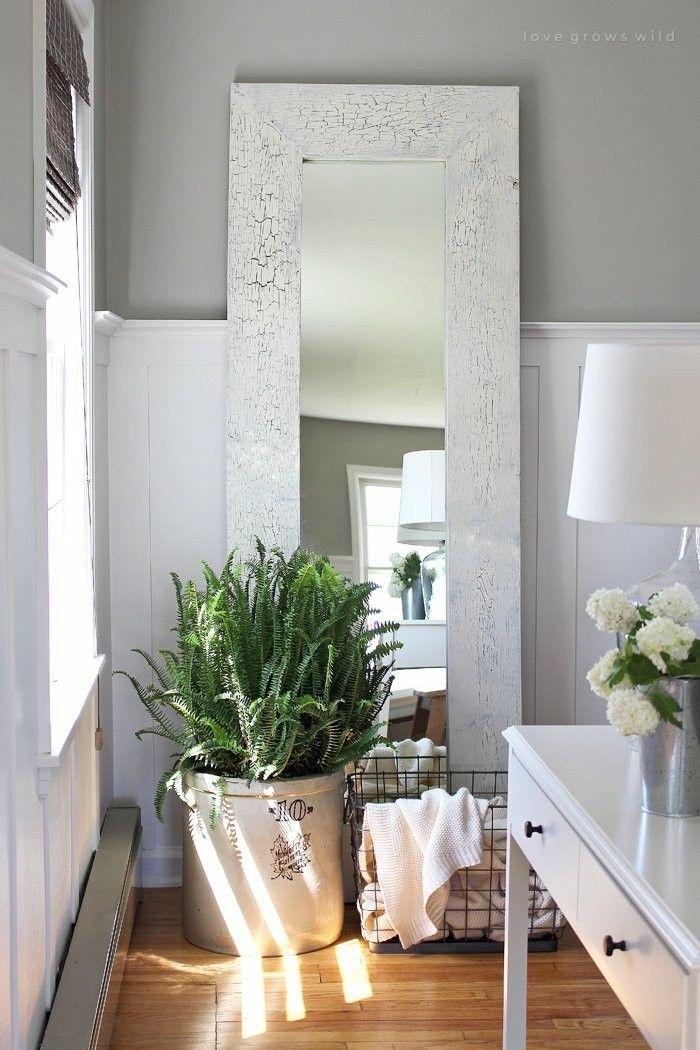 Zimmerpflanzen Farn großer Spiegel Flur