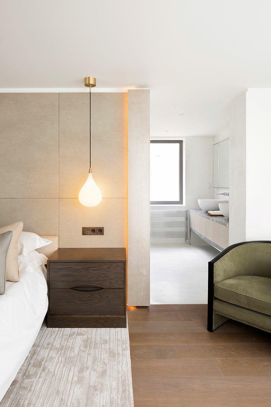 dunkler Nachttisch im Schlafzimmer Design Hängeleuchte