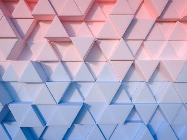geometrische Wandgestaltung Trendfarben Serenity und Rose Quartz