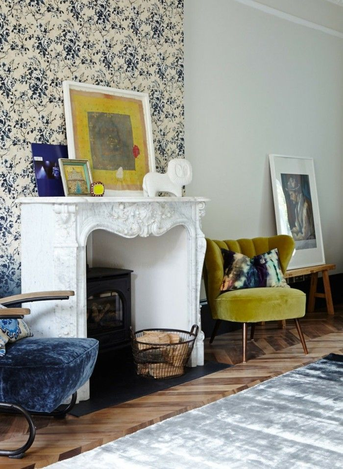 holz esstisch stühle gelb wohnzimmer ideen