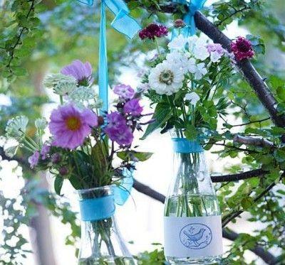 kreative Deko Vasen aus Flaschen Sommerfest
