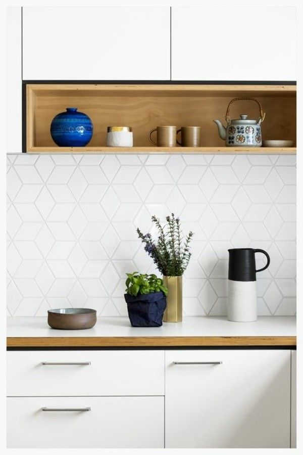 moderne Küchengestaltung in Weiß Fliesenspiegel Küchenspiegel