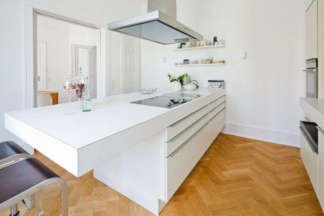 skandinavischer Stil Küche weiße Kücheninsel Einrichtungsideen