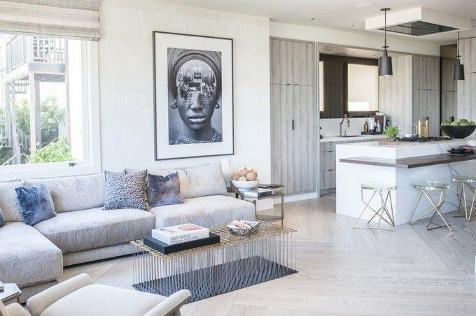 trendige Einrichtungsideen großes Bild im Wohnzimmer Theke