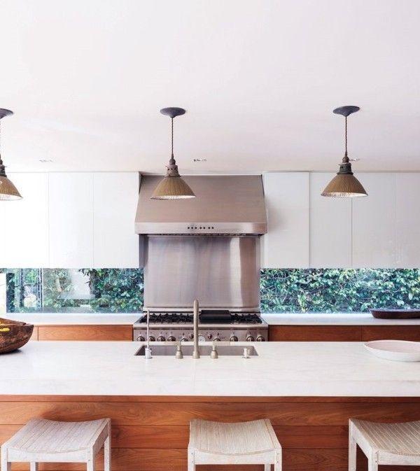 weiße Küchenplatte Küchenspiegel aus Edelstahl Ideen