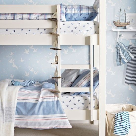zweistöckige Bette Himmelblau Maritime Deko Ideen Kinderzimmer