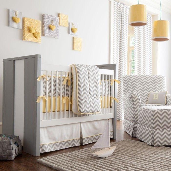 ... Grau mit gelben Akzenten wirkt sehr stilvoll und erlesen im Babyzimmer
