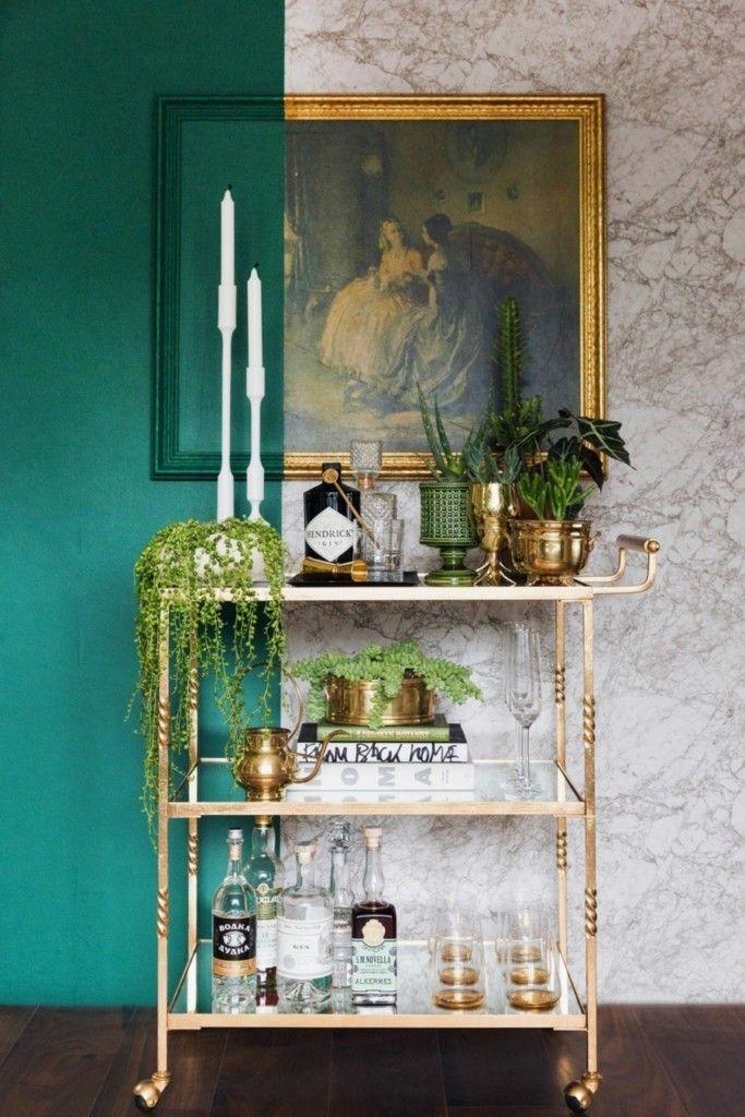 Auch ein Bar Wagen kann genug Platz für Ihre grünen Zimmerpflanzen bieten