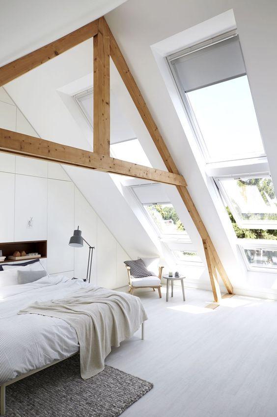 Schlafzimmer Dachgeschoss Gestalten: Wohnzimmer Farben Grau ... Dachgeschoss Balken In Grau