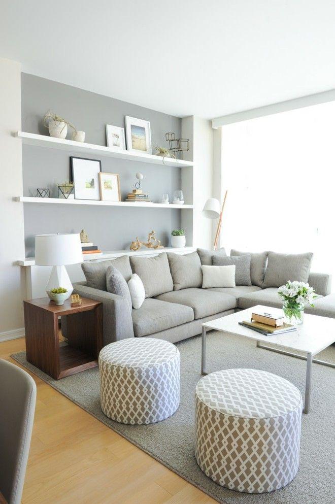 Design Wohnzimmer Einrichten Graue Wandgestaltung Runde Hocker