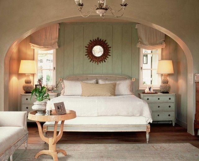 schlafzimmer-romantisch-gestalten-grune-wandpaneele