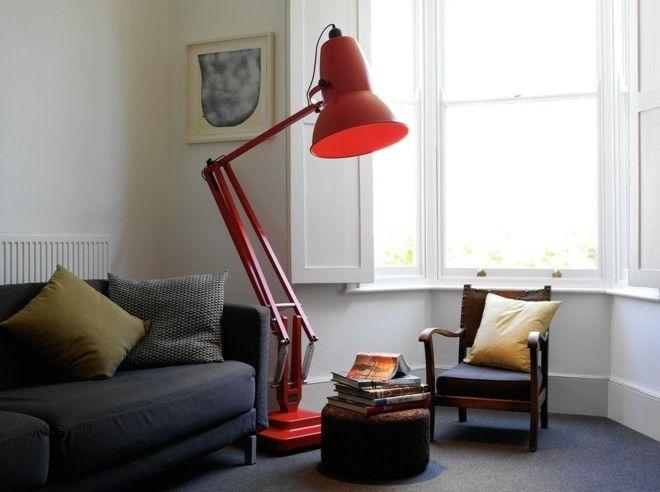 Wohnzimmer Einrichten Rote Stehelampe Akzent Industriell