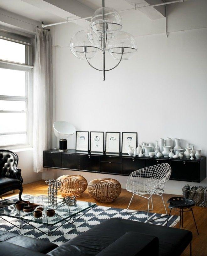 Wohnzimmer Einrichten Schwarz Weis Insdustrieller Stil Flechthocker